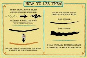 创意粗笔轮廓画笔笔刷 Outline Brushes插图5