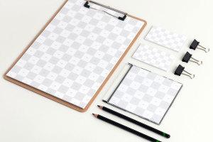 品牌视觉设计实物印刷效果预览等距网格办公用品样机模板02 Stationery PSD Mockup 02插图2