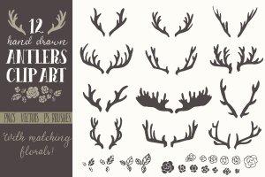 手绘鹿角圣诞元素矢量剪贴画 Hand Drawn Antlers Clip Art – Vector插图1
