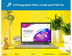 时尚高端渐变绚丽色彩的MacBook Pro UI样机展示模型mockups插图7