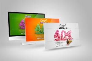 Web设计桌面电脑屏幕演示样机模板 Desktop Mock-Up插图3