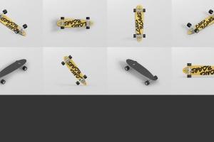 长滑板手绘图案设计样机模板 Skateboard Longboard Mockup插图16