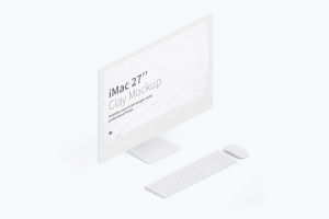 "27寸iMac一体机等距左视图黏土样机模板 Clay iMac 27"" Mockup, Isometric Left View插图1"