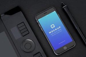 经典旧款黑色iPhone样机PSD模板 Black iPhone Mockups PSDs插图3