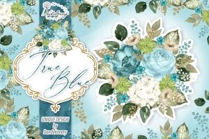 逼真蓝色水彩花卉手绘剪贴画PNG素材 Watercolor True Blue design插图1
