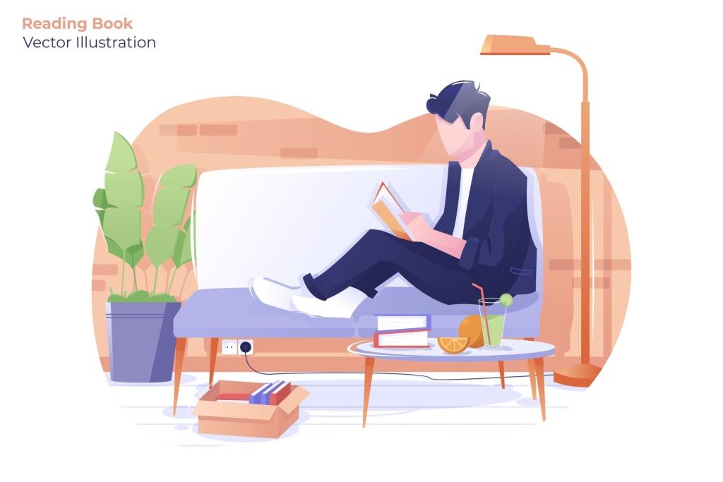周末家庭阅读场景矢量插画素材 Reading Book – Vector Illustration插图