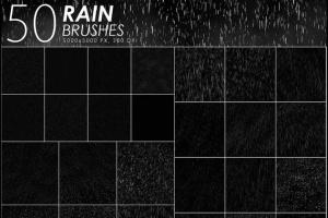 50款高分辨率雨水PS笔刷 50 Rain Photoshop Brushes插图2