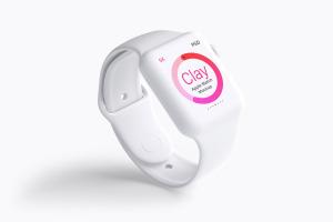 Apple Watch智能手表屏幕预览图样机01 Clay Apple Watch Mockup 01插图1