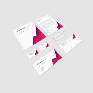 企业VI标识设计预览办公用品套件样机 Branding Identity – Material Triangle for Psd插图5