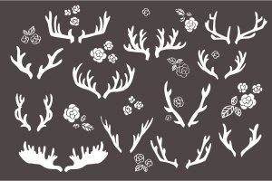 手绘鹿角圣诞元素矢量剪贴画 Hand Drawn Antlers Clip Art – Vector插图3
