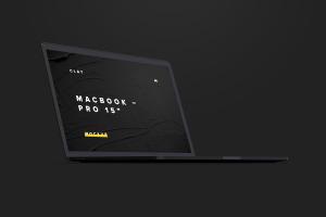 陶瓷黏土材质MacBook Pro笔记本电脑左前视图样机 Clay MacBook Pro 15″ with Touch Bar, Front Left View Mockup插图7