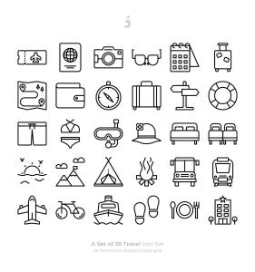 30枚旅行旅游主题Outline风格矢量图标 30 Travel Icons – Outliner插图2