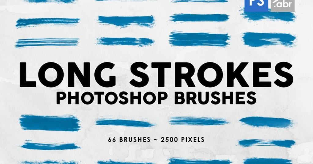 66个长画笔墨水纹理PS印章图案笔刷合集 66 Long Ink Strokes Photoshop Stamp Brushes插图