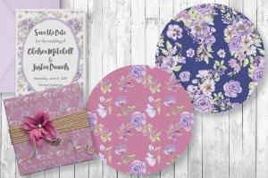 紫色水彩手绘花卉图案剪贴画PNG素材套装 Purple Passion: Watercolor Clip Art Bundle插图6