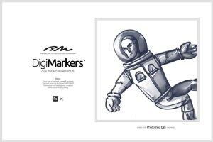 一组灵活简单方便的PS马克笔笔刷 RM Digi Markers插图2