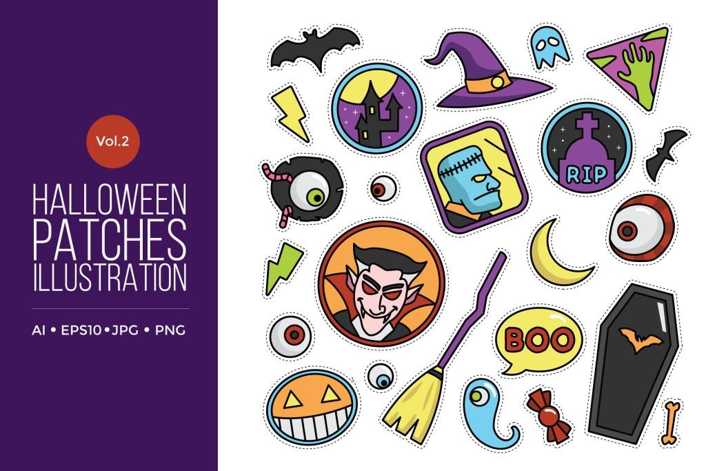 可爱风格万圣节贴纸图案矢量图形素材v2 Cute Happy Halloween Patches Vol.2插图