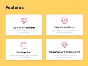 一流设计素材网下午茶:工作场景概念矢量插画素材下载[Ai]插图2
