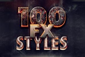 100款精美PS字体样式合集 100 Photoshop Layer Styles Bundle – Text Effect插图1