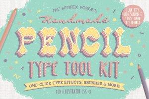 铅笔手绘风格图层样式 The Hand-drawn Pencil Type Tool Kit插图1