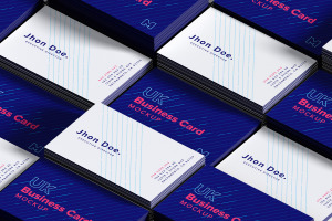 UK标准规格企业&工作室名片排版设计效果图样机01 UK Business Cards Mockup 01插图2
