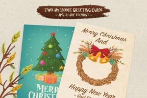 圣诞气氛装饰手绘矢量图案设计素材 Christmas Vibes插图2