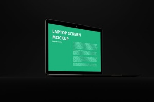 黑色背景MacBook Air笔记本电脑演示样机 Black MacBook Air Mockup插图3