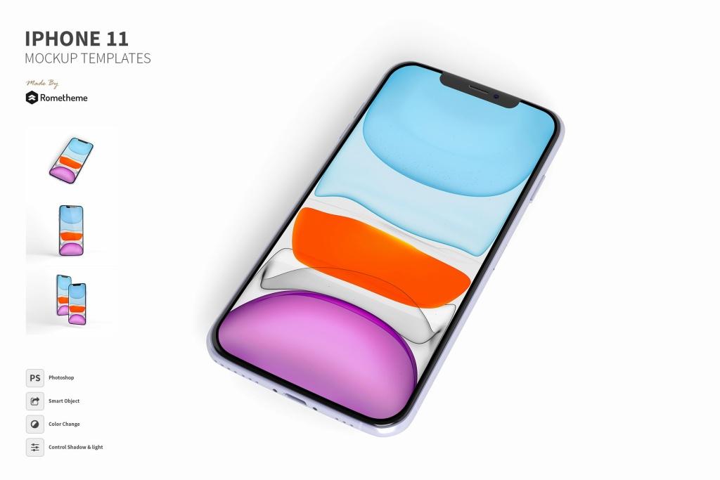 iPhone 11手机多角度正面视图样机模板 IPhone 11 Mockup插图