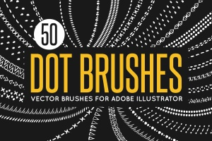 50款矢量绘画装饰元素图案AI笔刷 50 Vector Dot Brushes插图1
