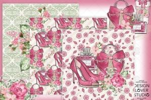 情人节礼物腮红色水彩花卉剪贴画设计素材 Spring Girl digital paper pack插图5