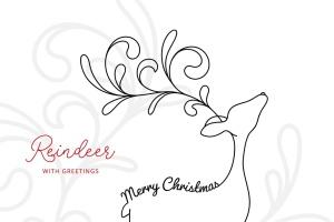 驯鹿线条手绘艺术矢量插画素材 Reindeer with Greetings – Line Art Vector Drawing插图1