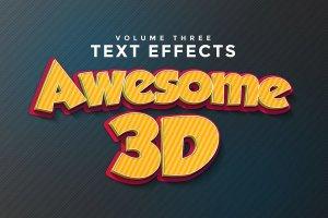 一流设计素材网下午茶:150款3D文字效果的PS图层样式 150 3D Text Effects for Photoshop–2.61 GB插图33