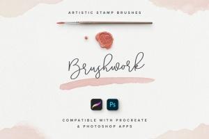 100个艺术印章画笔PS&Procreate笔刷 Brushwork: Artistic Procreate & Photoshop brushes插图(1)