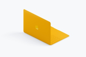 Macbook等距后左视图粘土样机模板 Clay MacBook Mockup, Isometric Back Left View插图3