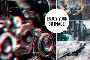 3D立体化浮雕照片处理效果PS动作 Quick 3D Anaglyph Effect插图4