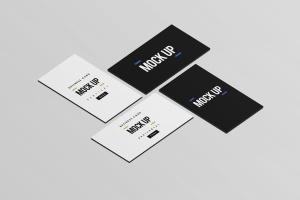 等距平铺企业名片设计样机模板 Business Card Mock Up插图1