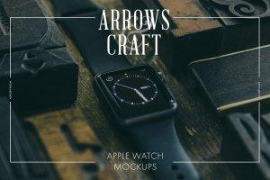 工匠场景风格iWatch样机模板 Arrows & Craft – Apple Watch Mockups插图1