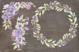 紫色水彩手绘花卉图案剪贴画PNG素材套装 Purple Passion: Watercolor Clip Art Bundle插图3