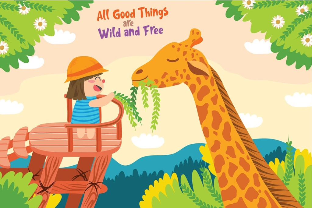 野生动物园场景矢量插画素材 Giraffe – Vector Illustration插图