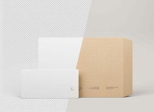 两种尺寸规格信封设计PSD样机模板 Two Size Envelope Mockups .PSD插图2
