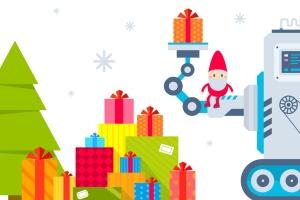 圣诞节礼物矢量插画设计素材 Set of Christmas illustrations with machines插图1