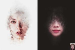 8款照片添加梦幻烟雾效果PSD分层模板 Artistic Smoke Portrait Psd Photo Effect Templates插图4