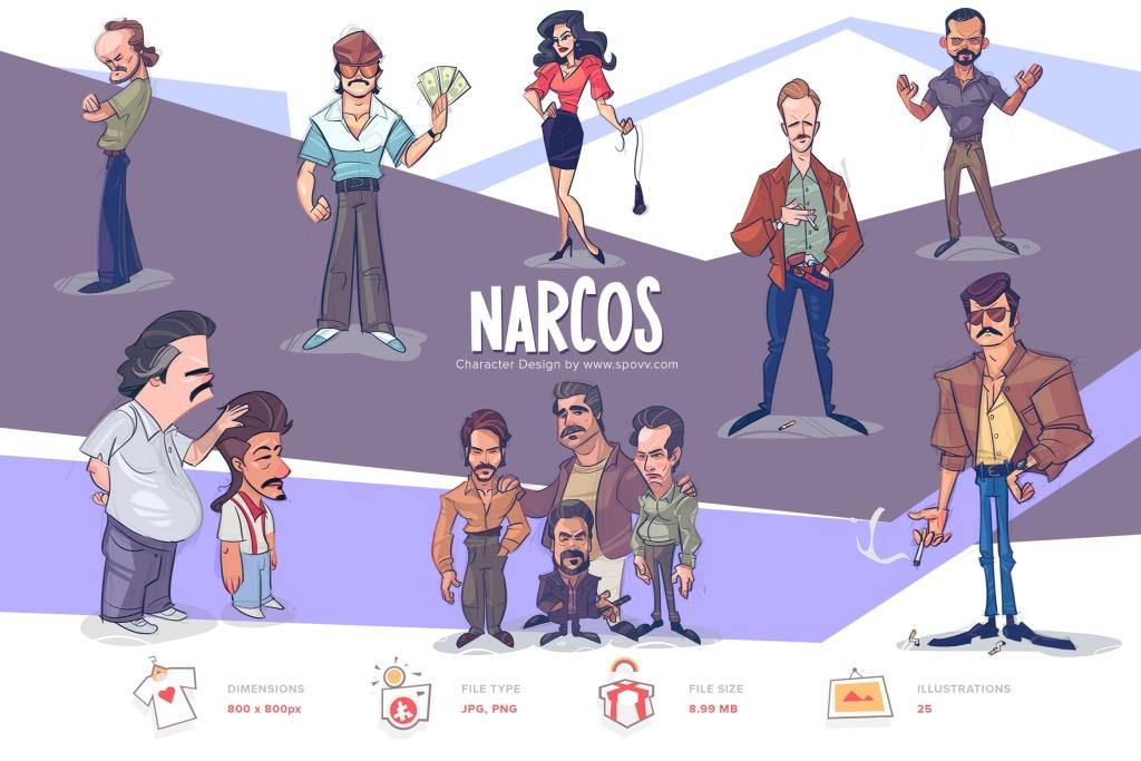 墨西哥大毒枭手绘卡通人物形象设计PNG素材 Narcos插图