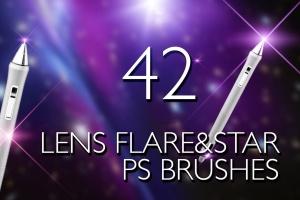 镜头眩光&星光效果PS笔刷 Lens Flare & Stars Photoshop Brushes插图1