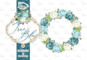 逼真蓝色水彩花卉手绘剪贴画PNG素材 Watercolor True Blue design插图3