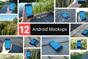 真实场景的手持安卓手机设备样机 12 Realistic Android Mockups插图1