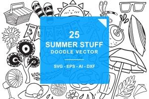 夏季主题涂鸦手绘矢量图案素材 Summer Stuff Doodle Vector插图(1)