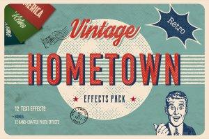 复古怀旧乡村风格图层样式 Vintage Hometown Effects Pack +BONUS插图1