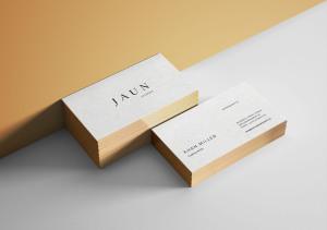 镶金边效果高端名片设计PSD样机模板 Gold Edges Business Card Mockup插图1