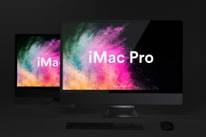 酷黑背景iMac Pro一体机电脑样机模板 Dark iMac Pro Mockup插图1