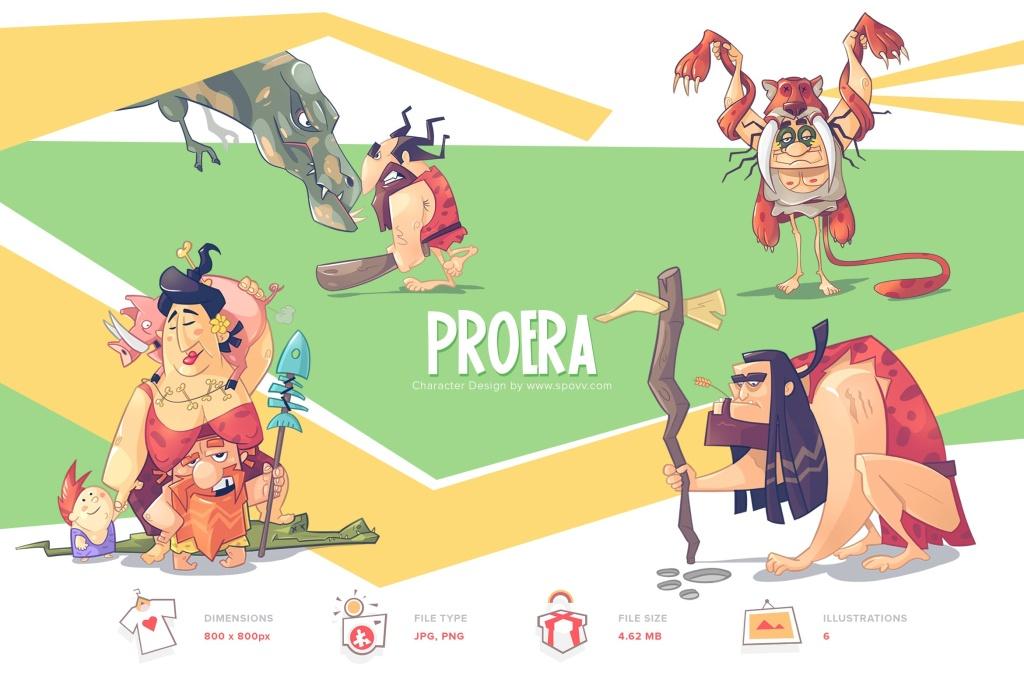 疯狂原始人卡通形象手绘矢量插画素材 Pro Era插图